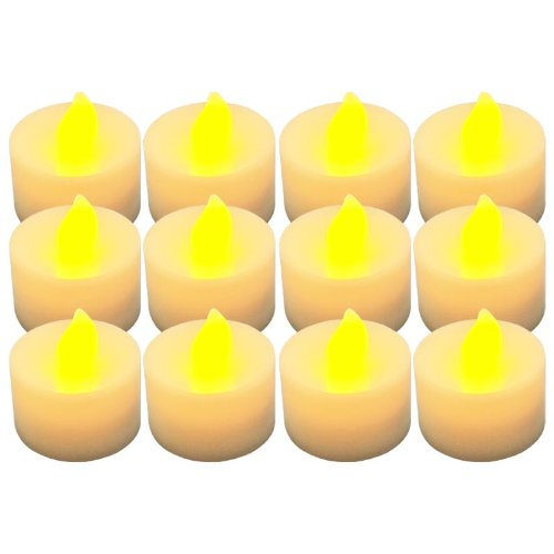 Generic Yellow Light Flash Flameless Led Tea Candle For Christmas Wedding Dinner Pack Of 12