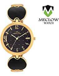 Latest Design Black And Golden Metal Strap Watch, Round Gold And Black Designer Dial Analog Watch For Girls, Ladies...
