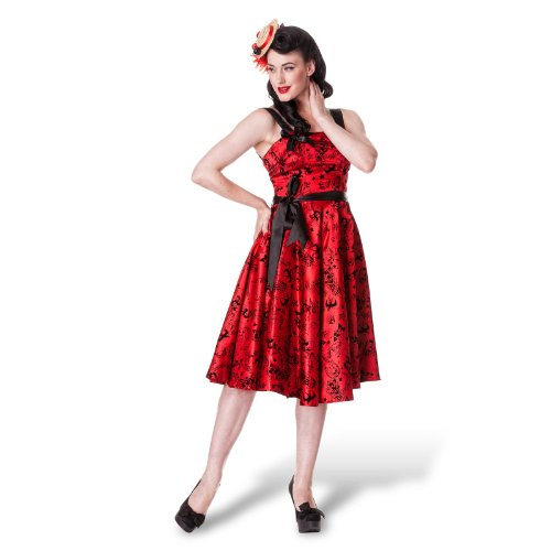 Hell Bunny dell'abito TATTOO FLOCK DRESS rosso 36