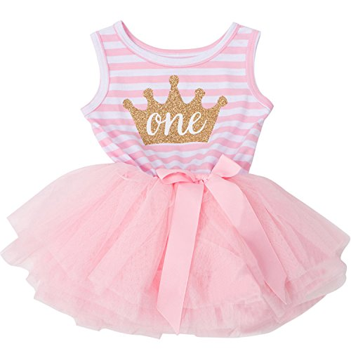 NNJXD Girl Shinny Stripe Baby Girl Sleeveless Printed Tutu Dress Gold&Pink 10-12 Months