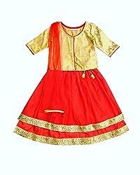 Campana Red Double Layer Lehenga Set For Girls