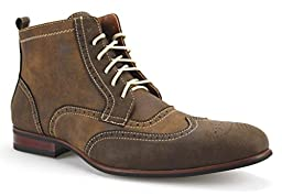 Ferro Aldo Men\'s 806356 Wing Tip Ankle High Round Toe Dress Boots, Brown, 9.5