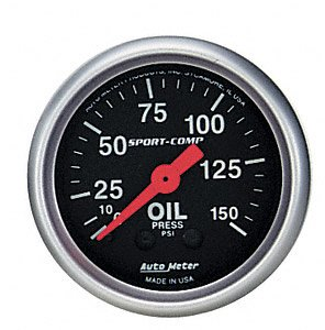 Equus 7244 2 Mechanical Oil Pressure Gauge Chrome with Black Dial