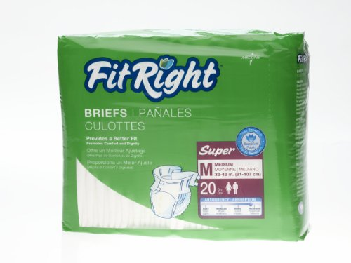 """Medline Fitright Super Adult Briefs Medium 32""""-42"""" Disposable Clothlike Diaper Heavy Protection Case Of 80 front-129598"""