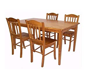 5pc Casual Dining Table And Chairs Set In Oak Finish Home