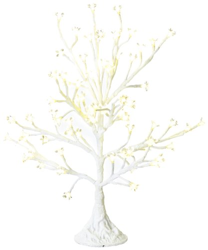 Arclite Nbl-050-3 Cherry Blossom Tree, 2.5' Height, With White Trunk, Clear Crystals And Warm White Lights