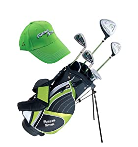 Paragon Rising Star Kids Golf Clubs Set Ages 8-10 Green With Hat DELUXE by Paragon