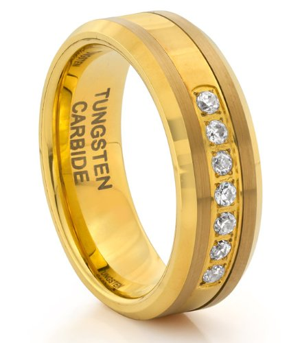 8MM Tungsten Carbide Diamond CZ Gold Mens Wedding Band Ring (Available Sizes 7-14 Including Half Sizes) (7)