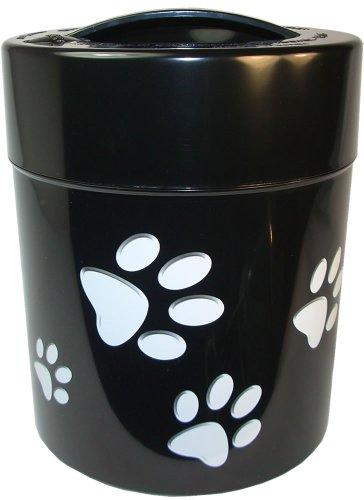 Pawvac 2.5 Pound Vacuum Sealed Pet Food Storage Container; Black Cap & Body/White Paws