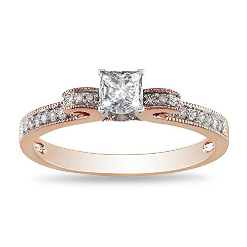 0.58 Carat Affordable Diamond Engagement Ring with Princess cut Diamond on 14K Rose gold