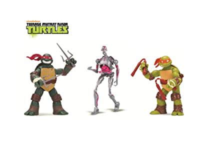 Teenage Mutant Ninja Turtles 3-Pack Basic Figure Bundle (Michelangelo/Raphael/Kraang)