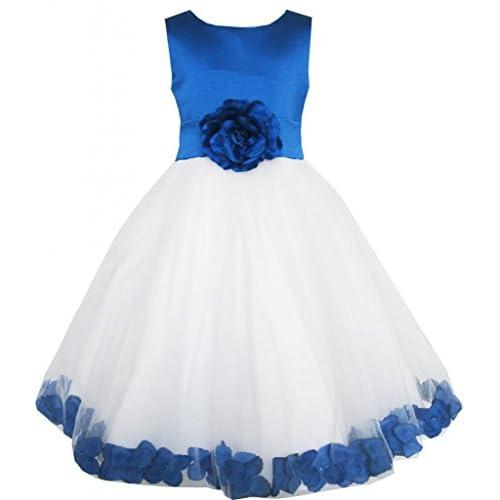 EL66 子供ドレス 女の子ドレス キッズドレス フラワードレス 結婚式 発表会 ブルー チュール 花嫁介添人 150cm