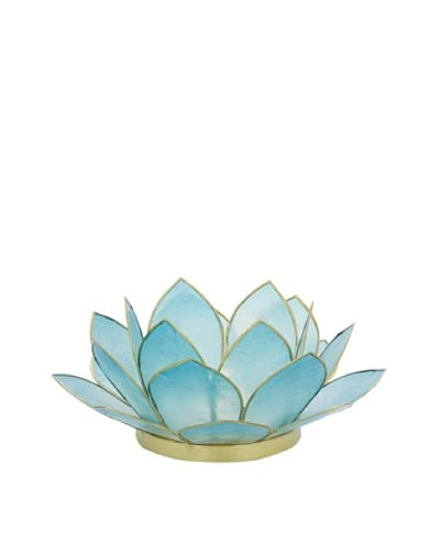 Torre & Tagus Lotus Capiz Shell Tealight Holder, Turquoise As You See