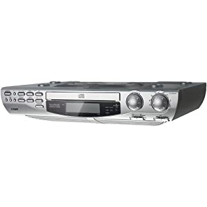 Coby KCD150 Under-the-Cabinet CD Player with AM/FM Radio (Silver)
