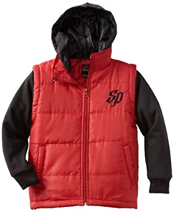 Southpole Little Boys' Twofer Padded Vest with Long Sleeve Fleece Hoody, Red, X-Large
