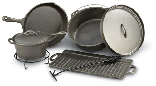 Sportsman CICS8 8-Piece Cast Iron Outdoor Cookware Set With Carrying Bag