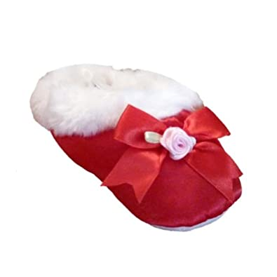 baby connection infant girls red satin slippers fur house shoes baby
