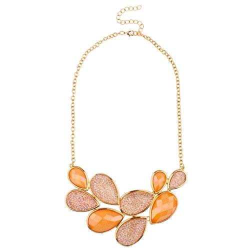 Lux accessori Arancione pietra rosa goccia Caviale Teardrop dichiarazione collana