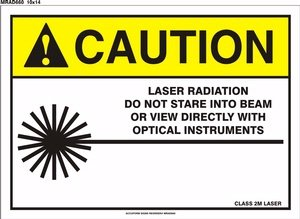 CAUTION LASER RADIATION DO NOT STARE INTO BEAM OR VIEW DIRECTLY WITH OPTICAL INSTRUMENTS CLASS 2M LASER (W/GRAPHIC) Sign - 10