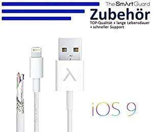 iPhone 5C USB Datenkabel Sync Ladekabel TheSmartGuard für iPhone 6 / 6 Plus / 5 / 5S / 5C, iPad 4, iPad Mini, iPad Air, iPod Touch 5G, iPod Nano 7G, - 8 Pin Anschluss - WEISS / weiß / white -Original nur von THESMARTGUARD-