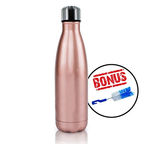 Stainless Steel Water Bottle + Bonus Cleaning Brush! Best for Cold or Hot Drinks. Hydro Vacuum seal with metal insulated double walled flask, BPA Free Warm for 12 Hours Cold for 24 (Pink Shimmer 17Oz) (Hot Water Bottle Rose compare prices)