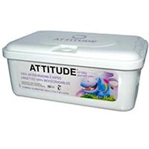 ATTITUDE, Eco-Baby Toallitas, 100% biodegradables y paños sin perfume, 72 - BebeHogar.com