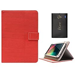 DMG Protective 7in Flip Book Cover Case for Vizio Vz-706 (Red) + 6600 mAh Three USB Port Power Bank