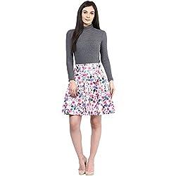 RARE Multi coloured Above Knee Length Polyester Skirt for Women