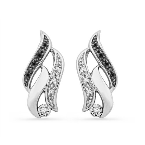 Platinum Plated Sterling Silver Black And White Round Diamond Twisted Fashion Earring (1/20 cttw)