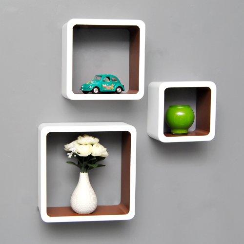 3er Set Lounge Cube Regal Design Retro 70er Wandregal Hängeregal in Weiß Espresso Braun Matt