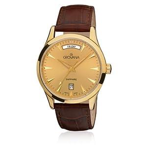 GROVANA 1201.1511 - Reloj de pulsera hombre, piel, color marrón