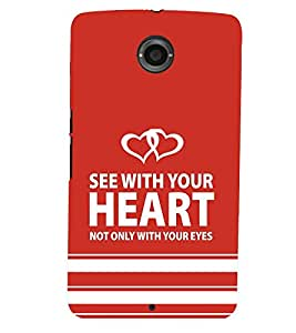 printtech Heart Back Case Cover for Motorola Google Nexus 6