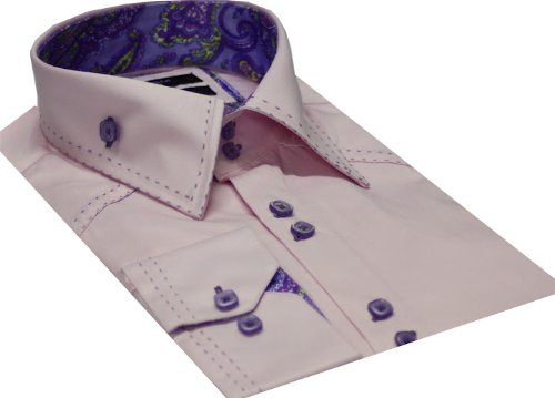 Italian Design Men's Formal Casual Shirts High Collar Pink Colour Slim Fit