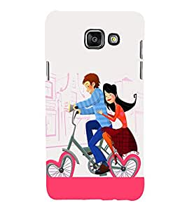 Love Couple on Cycle 3D Hard Polycarbonate Designer Back Case Cover for Samsung Galaxy A3 (2016) :: Samsung Galaxy A3 2016 Duos :: Samsung Galaxy A3 2016 A310F A310M A310Y :: Samsung Galaxy A3 A310 2016 Edition