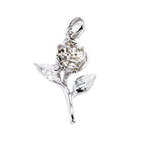 .925 Sterling Silver Rose Charm On-Sale for you at a Special Offer Price, Chain Not Included, Comes in a Free Gift Pouch