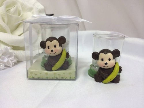 5 Baby Monkey Candle Party Favor Holding Banana In Clear Box Gift