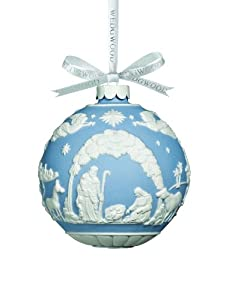 Wedgwood by Waterford Traditional Nativity Scene Ornament, Blue/White