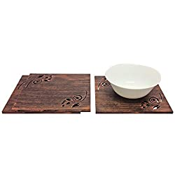 Set of 3 Square Copper Textured Trivets: Home, Dining, Kitchen - 8