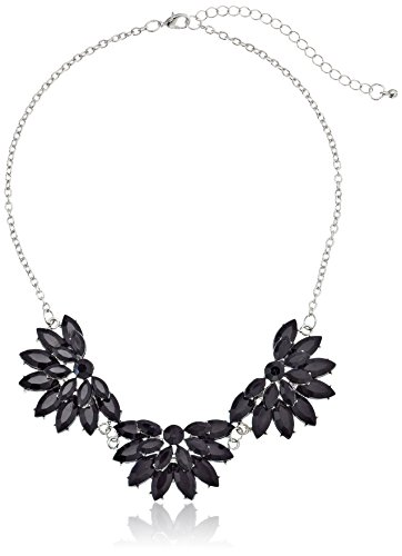 """3 Opaque And Trans Half Flower Chain Shiny Silver And Jet Necklace, 16"""""""