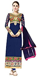 Hypnotex Women's Resham Dress Material(Panchali9013_Navy blue_Size48
