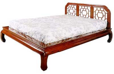 Asian Furniture & Home Décor - Chinese Style Platform Queen Size Bed in Cherry Rosewood