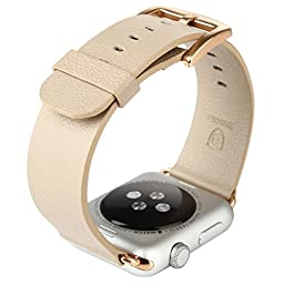 Apple Watch Band ,men series Genuine Leather Strap Wrist Band Replacement ,[42mm] khaki