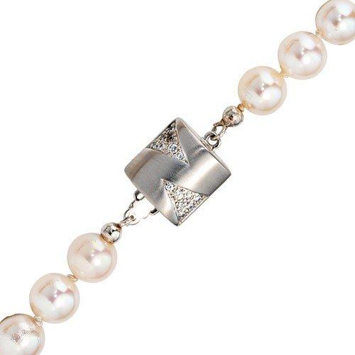 Goldverschluss Schließe mit 28 Diamanten Brillanten 585 Weißgold matt Damen schenken