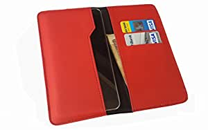 nKarta TM OD Red Flip Flap Wallet Pouch Mobile Cover Case with Card holder Slots for Archos 50 Helium 4G
