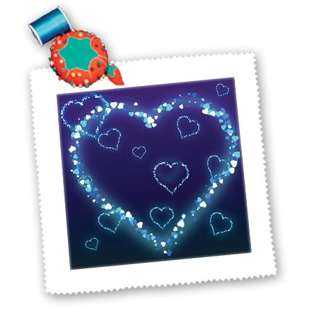 Qs_102492_1 Dooni Designs Valentines Day And Love Designs - Blue Electric Hearts Love Design - Quilt Squares - 10X10 Inch Quilt Square
