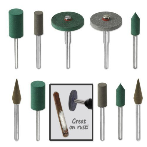18pc Diamond-in-Rubber Emery Polishing Bit Set - Fits Dremel - Metal, Glass, Stone, Tile (Jewelers Polishing Tools compare prices)