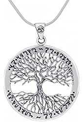 Wiccan Twisted Tree of Life Amulet Sterling Silver Pendant Necklace