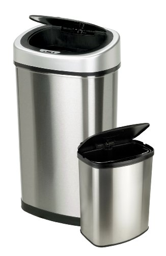 Nine Stars 13.2 & 2.1-Gallon Touchless Automatic Motion Sensor Trash Can, Set of 2 (Nine Stars Trash Can Lid compare prices)