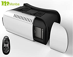 Monba VR Virtual Reality 3D Video Movie Game Glasses Headset For 4.7~6 inch Smartphones,Suitable for myopia people, with a Bluetooth Controller.For the Christmas Gift !