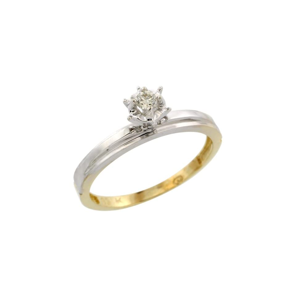10k Yellow Gold Diamond Engagement Ring, 1/8 inch wide, Size 5